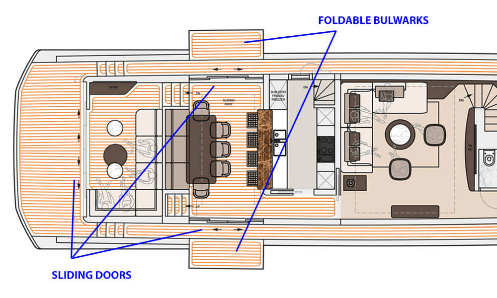 Dynamiq Yachts GTM 90 main deck plan showing foldable bulwarks and sliding doors