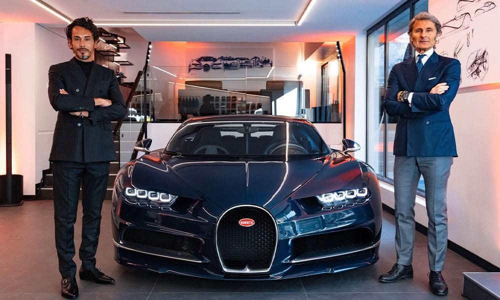 Edouard Schumacher and Stephan Winkelmann at the Bugatti showroom Neuilly-sur-Seine, Paris