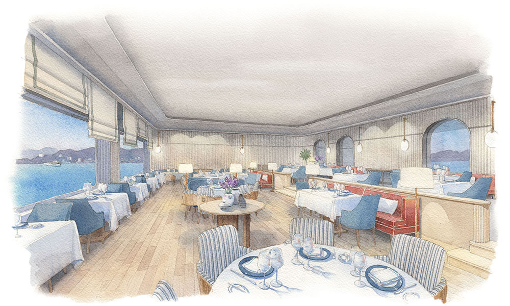 Eduardo Bajzek watercolor of Patricia Anastassiadis Eden-Roc Hotel Restaurant design