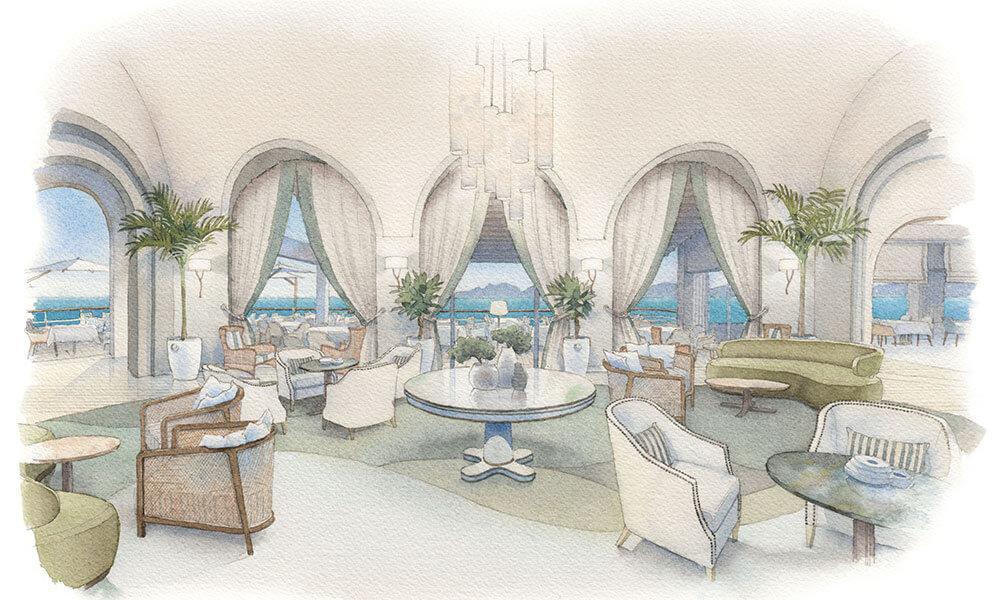 Eduardo Bajzek watercolor of Patricia Anastassiadis Eden-Roc Hotel Rotunda design