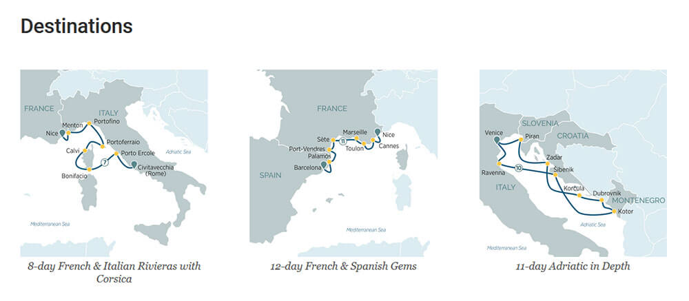 Some of Superyacht Emerald Azzurra's Itinerary