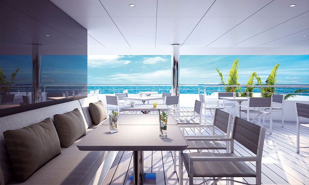 Emerald Yacht Cruises Superyacht Emerald Azzurra's Reflections Restaurant Outside Dining