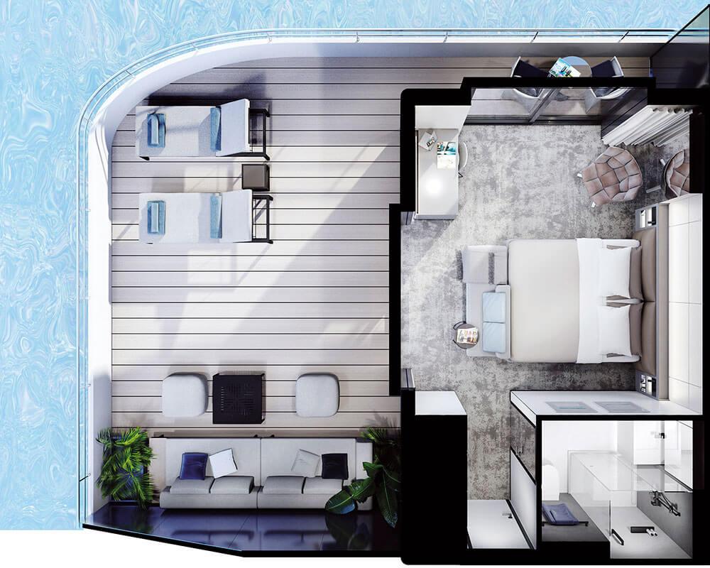 Emerald Yacht Cruises Superyacht Emerald Azzurra's Terrace Suite Layout