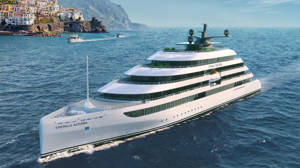 Emerald Yacht Cruises Superyacht Emerald Azzurra sailing past the Amalfi Coast Italy