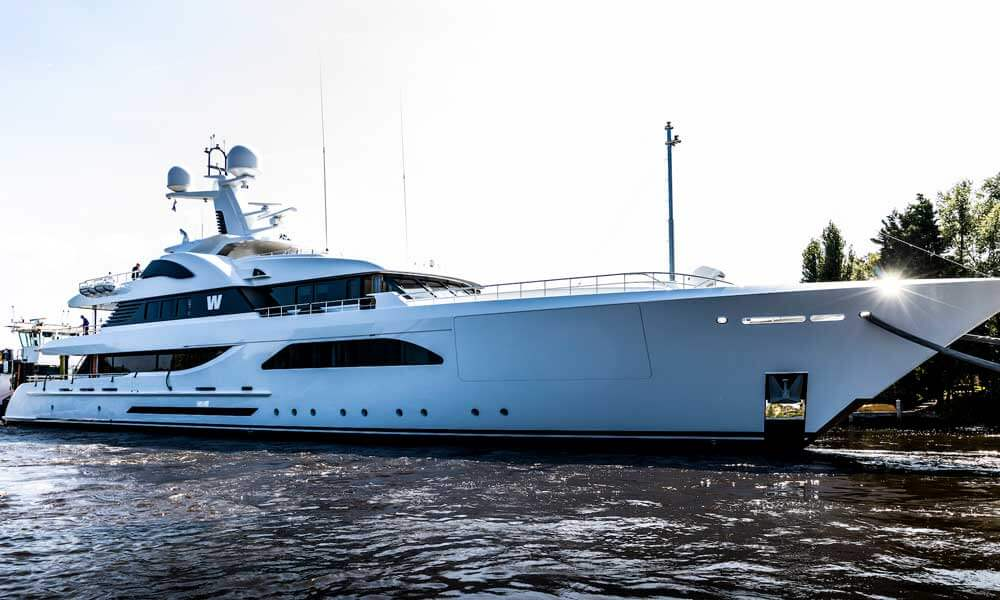 The all white livery of Superyacht W before refit