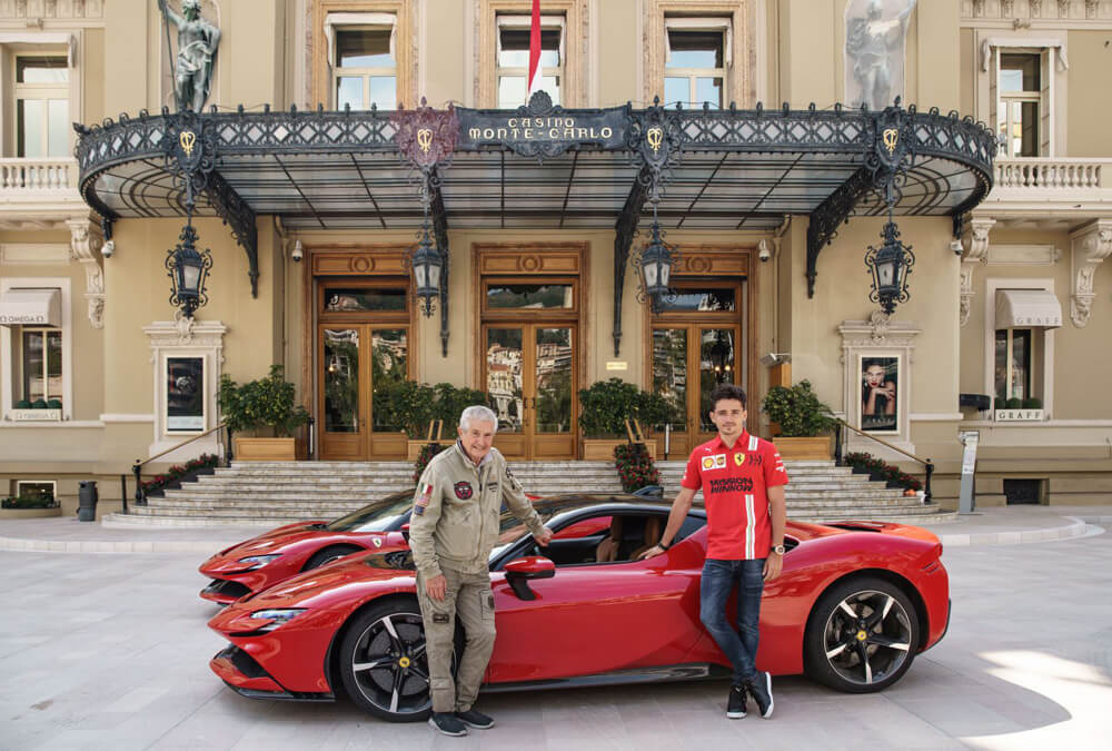 Ferrari SF90 Stradale with Charles LeClerc and Claude Lelouch at Casino Monte Carlo