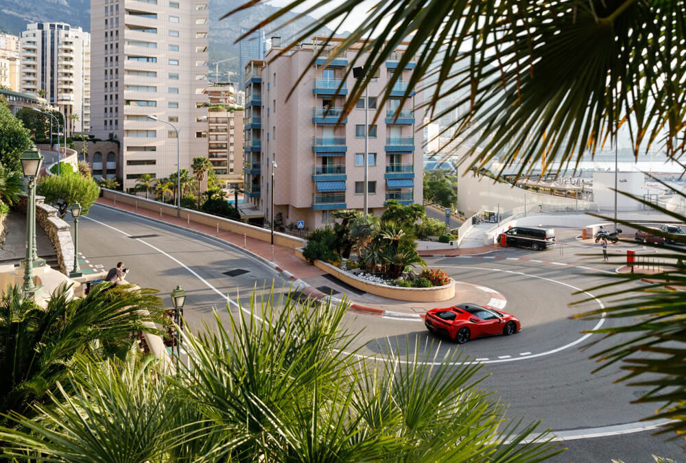 Ferrari SF90 Stradale taking the hair pin corners of Monaco