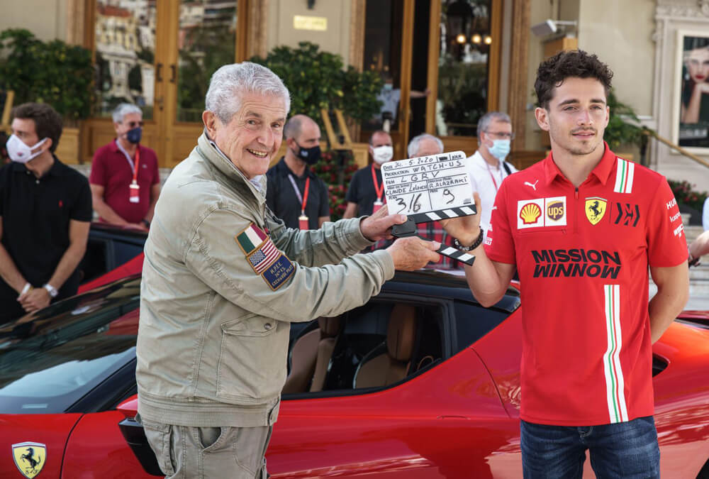 Claude Lelouch and Charles Leclerc ready to film Le Grand Rendez-Vous.