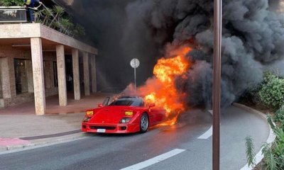 Ferrari F40 on fire in Monaco February 2020