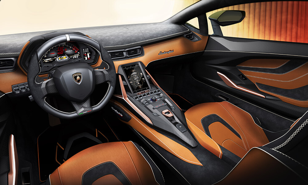 First hybrid Lamborghini Sián interior detail