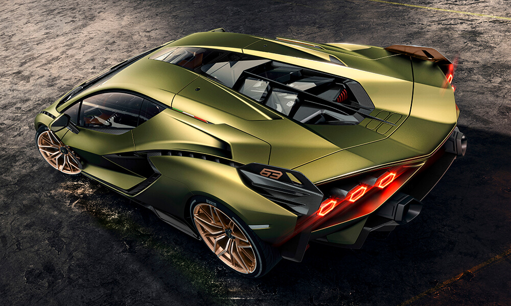 First hybrid Lamborghini Sián top rear 3-4 view