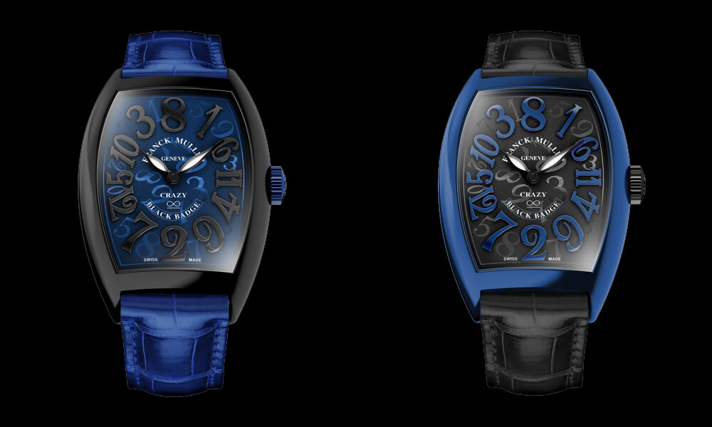 Two versions of the Franck Muller Crazy Hours Wraith Black Badge Edition. Credit: Franck Muller