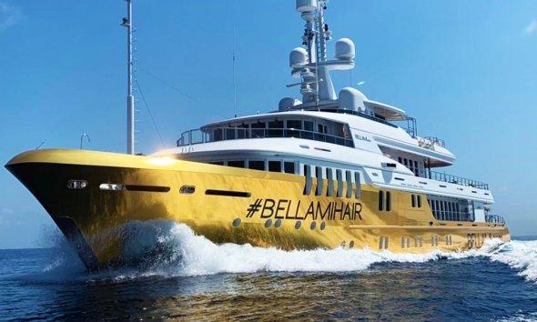 Superyacht Kinta wrapped in Gold Chrome Foil for Bellami.com