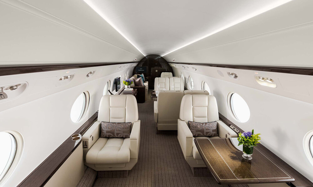 Highly configurable interior of the G550. Credit: Gulfstream