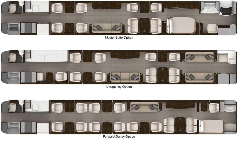 Gulfstream G700 interior floorplan options