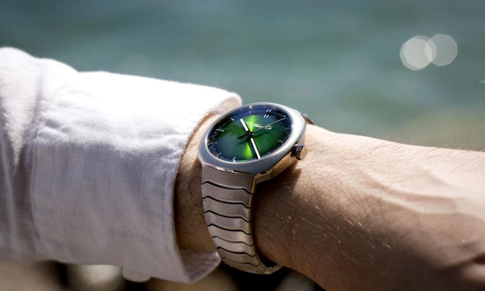 H Moser Streamliner Centre Seconds Matrix Green Wrist Watch