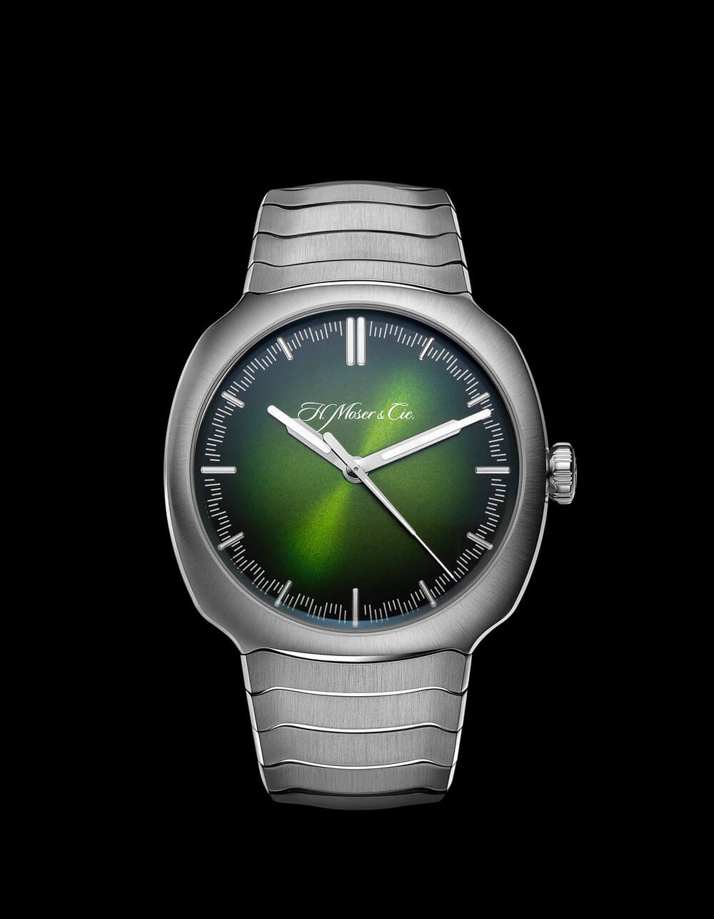 H Moser Streamliner Centre Seconds Matrix Green Watch Face Black