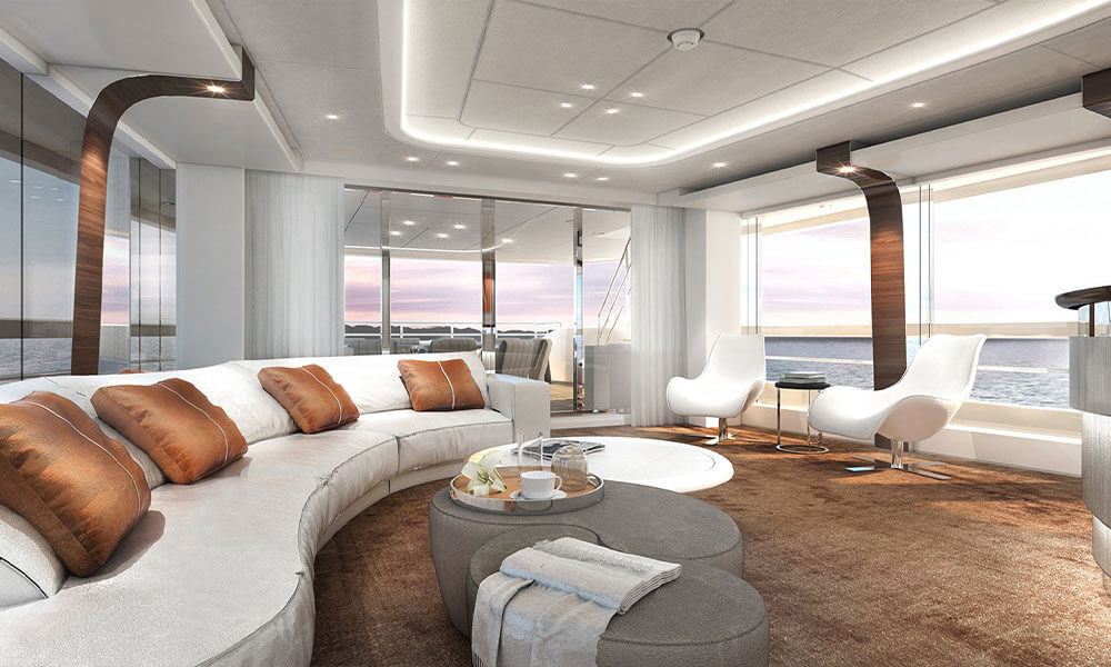 Heesen Yachts Hybrid Superyacht Electra Sky Lounge Interior