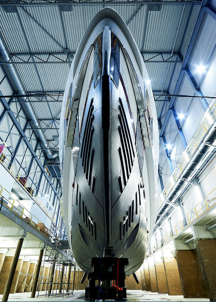 View from under Heesen Yachts Hybrid Superyacht Electra's Hull