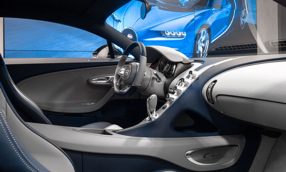 Inside the Chiron Sport at the Bugatti showroom Neuilly-sur-Seine, Paris