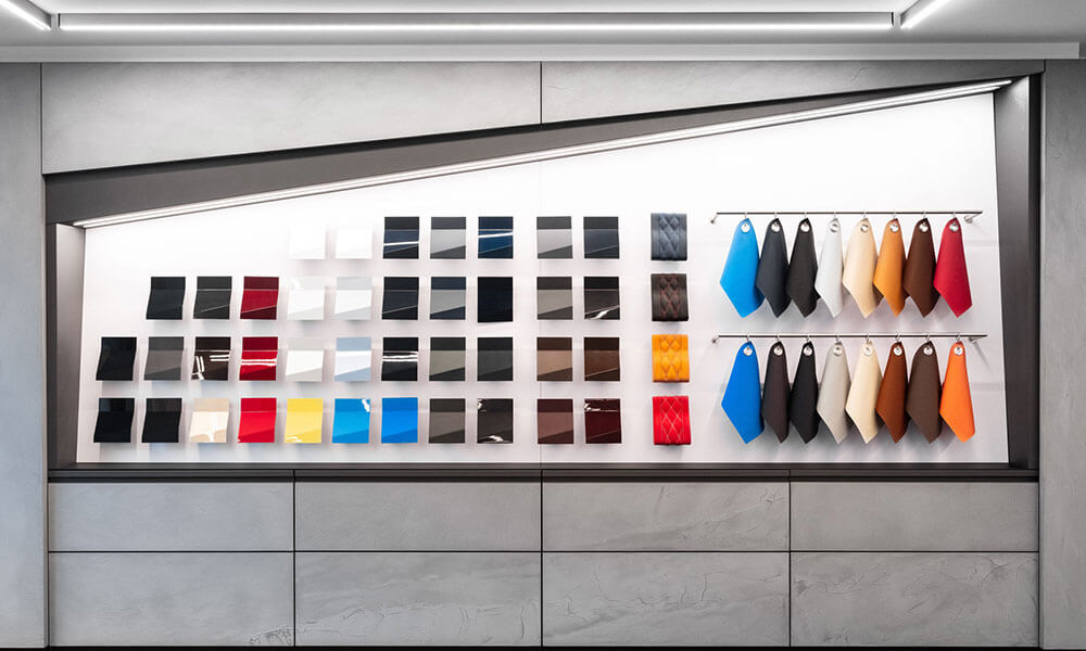 Paint and leather samples hang on the Bugatti showroom wall Neuilly-sur-Seine, Paris