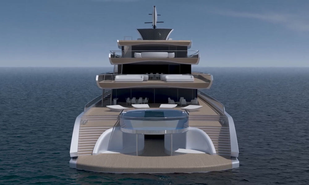 Isaac Burrough Design 110m hybrid explorer yacht Kiwa glass pool and swim step aft