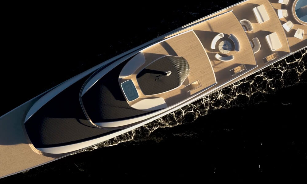Isaac Burrough Design 110m hybrid explorer yacht Kiwa solar panels