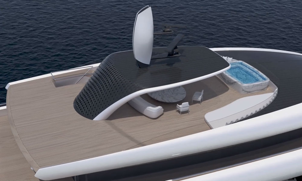 Isaac Burrough Design 110m hybrid explorer yacht Kiwa upper deck with jacuzzi