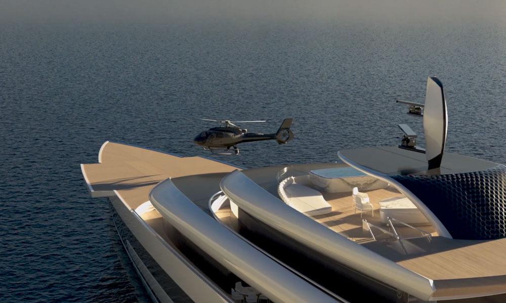 Isaac Burrough Design 110m hybrid explorer yacht Kiwa helicopter landing pad