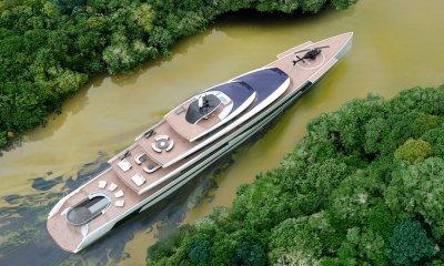 Isaac Burrough Design 110m Kiwa megayacht explorer yacht concept in river