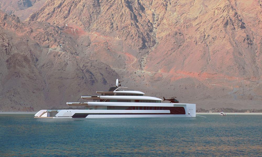 Isaac Burrough Design 110m hybrid explorer yacht Kiwa at anchor
