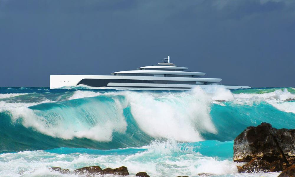 Isaac Burrough Design 110m hybrid explorer yacht Kiwa in ocean