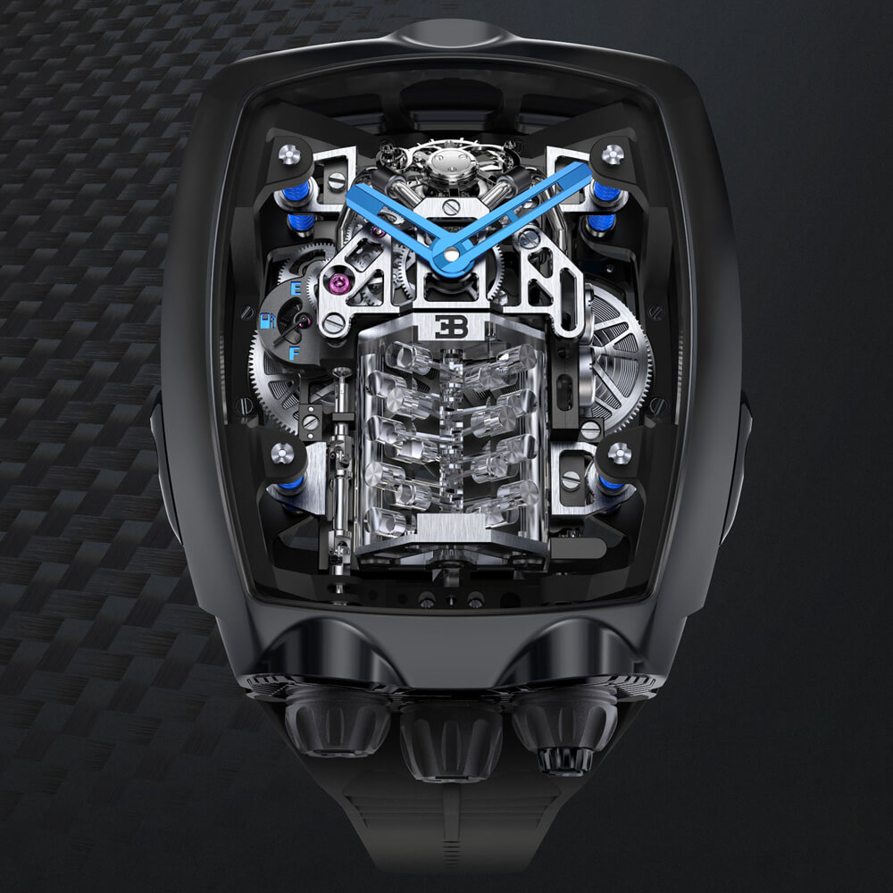 Jacob and Co Bugatti Chiron 16 Cylinders Tourbillon Complication Watch Front Face