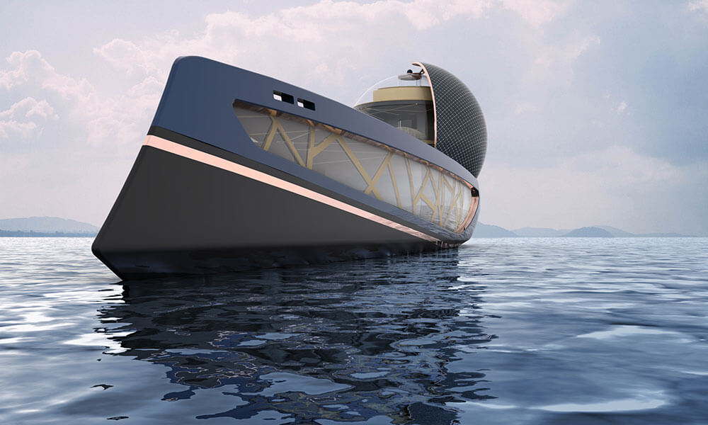 Julien Cadro's Ecoo superyacht design bow view