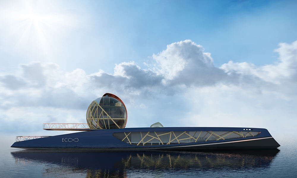 Julien Cadro's Ecoo superyacht design side view