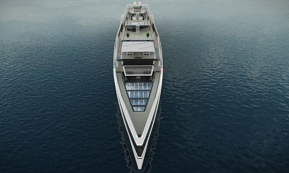 Julien Cadro's Solis superyacht design aerial view
