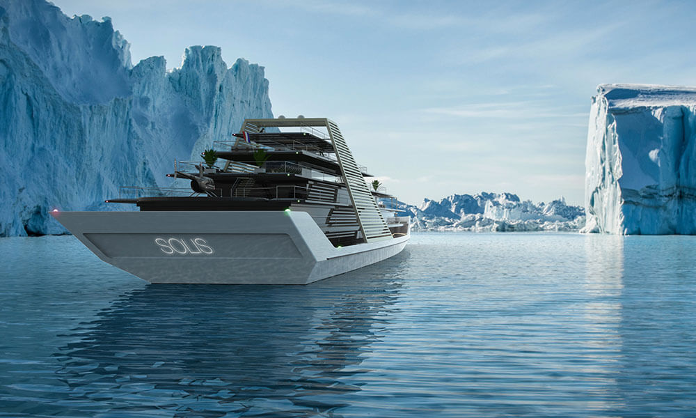 Julien Cadro's Solis superyacht design aft view
