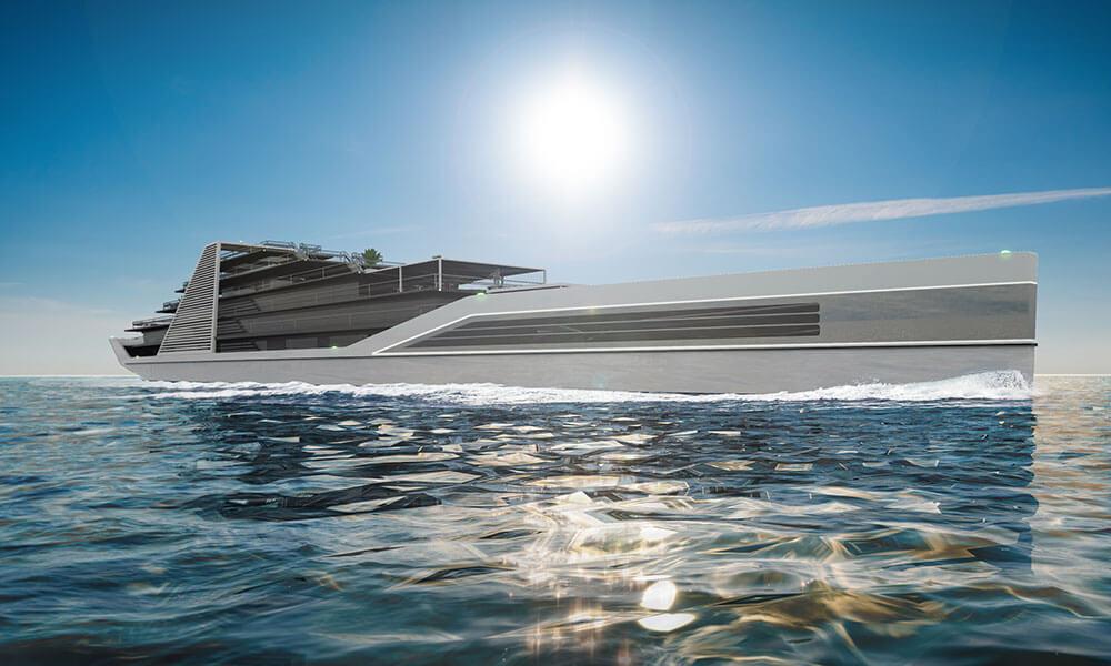 Julien Cadro's Solis superyacht design side view