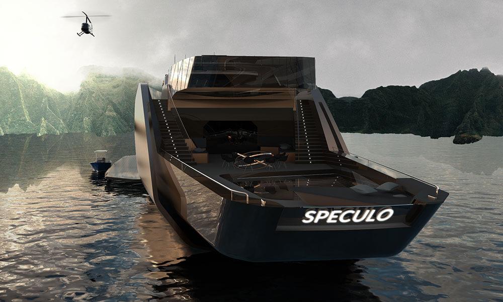 Julien Cadro's Speculo superyacht design aft view