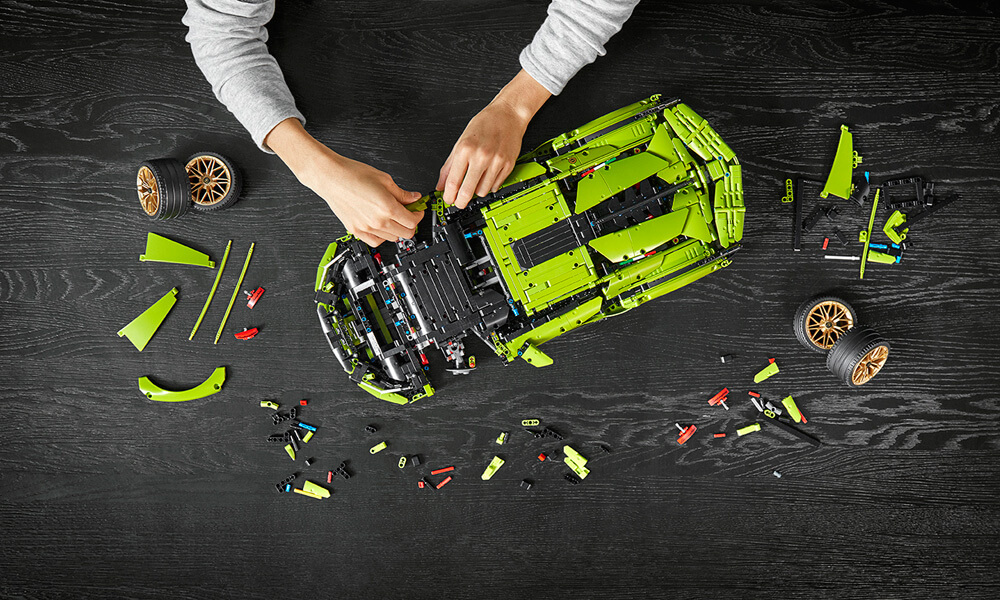 All 3,696 pieces of the LEGO Lamborghini Sian