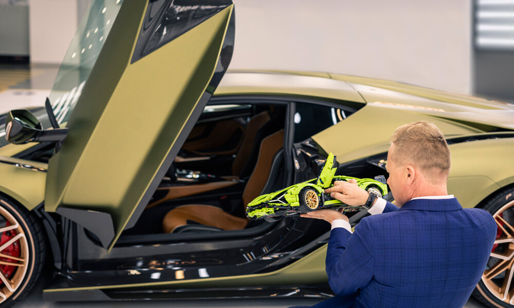 Lamborghini's Head of Design Mitja Borkert comparing the two cars