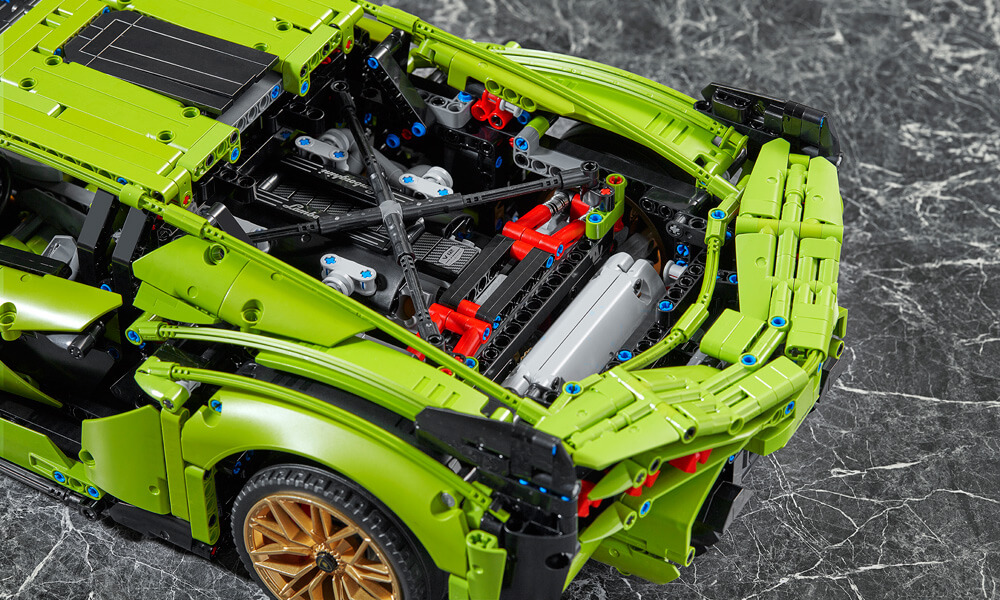 LEGO technic Lamborghini Sian engine bay