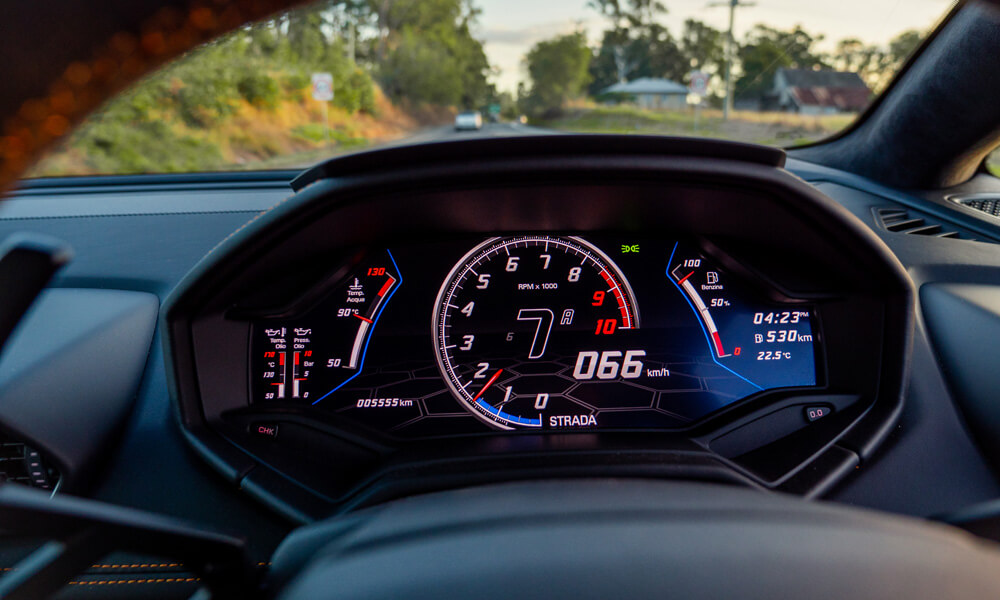 The Lamborghini Huracan Evo dashboard in Strada mode. Credit: Billionaire Toys