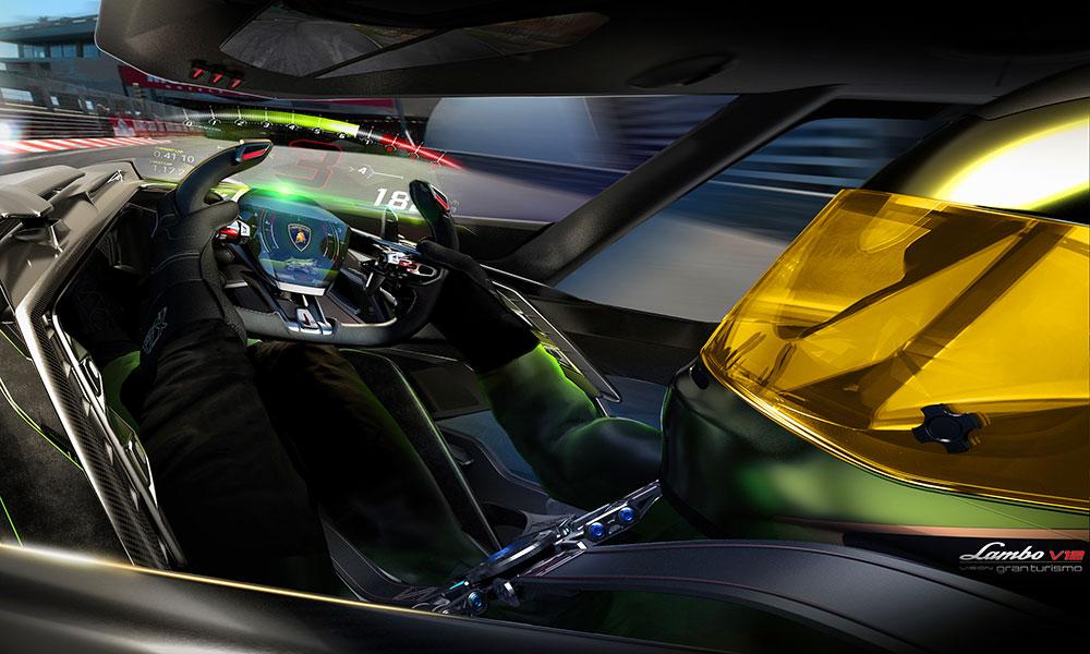 Holographic display concept Lamborghini Lambo V12 Vision Gran Turismo