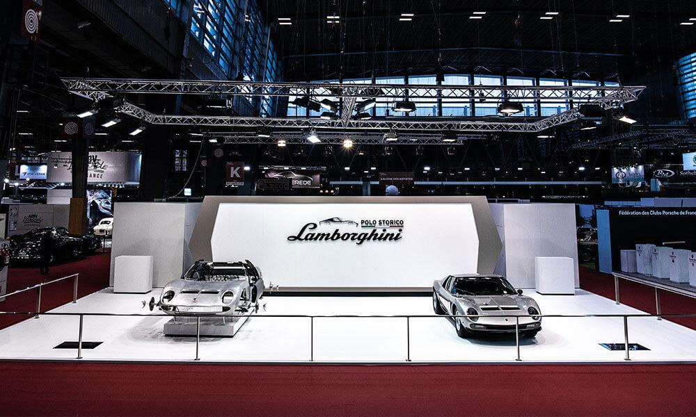 Lamborghini Miura P400 S and complete Miura SVJ chassis 4860 by Lamborghini Polo Storico sit side by side