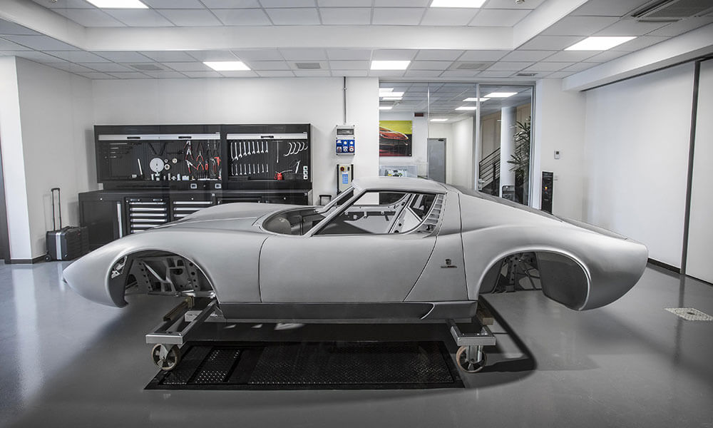 Lamborghini Miura at the Lamborghini Polo Storico facility