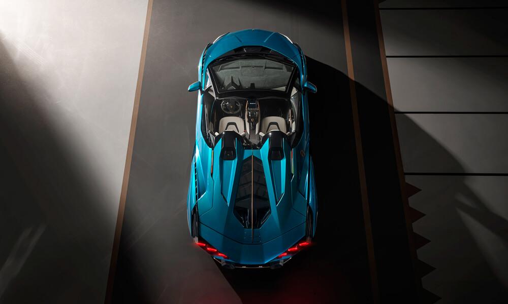 Lamborghini Sian Roadster Tail lights exhaust rear view