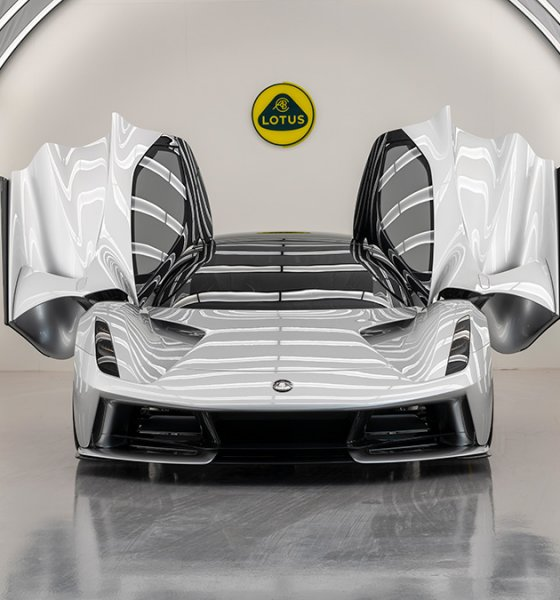 Lotus Evija EV hypercar production facility light tunnel