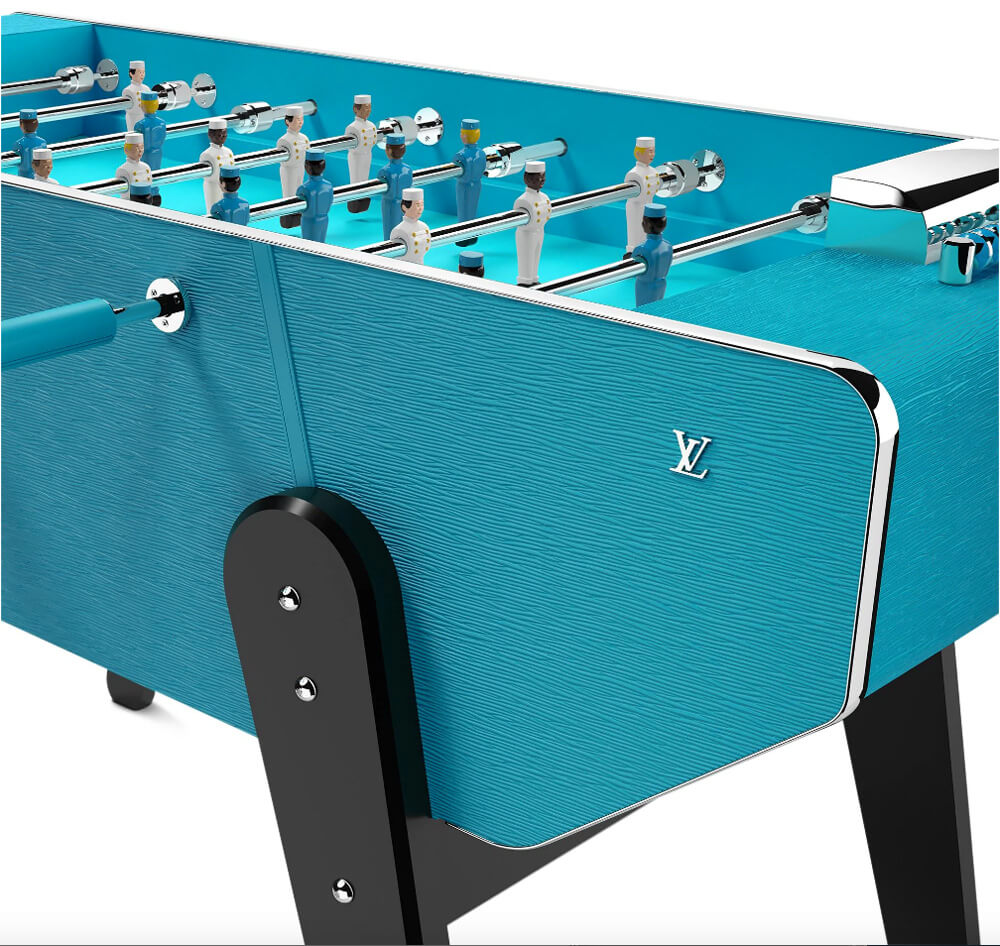Louis Vuitton EPI leather used on the Babyfoot Foosball table