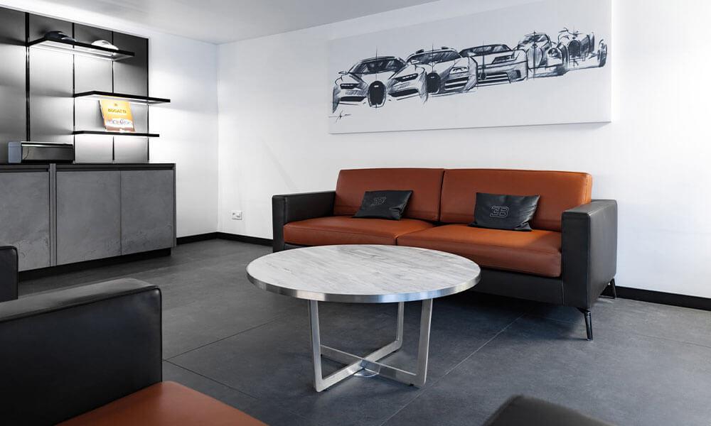 Lounges inside the Bugatti showroom Neuilly-sur-Seine, Paris
